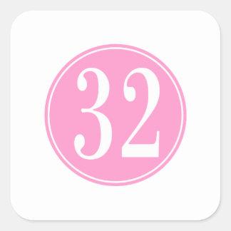 #32 Pink Circle Square Sticker