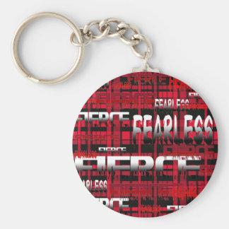32.Red y feroz audaz de la tela escocesa negra Llavero Redondo Tipo Pin