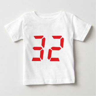32 thirty-two red alarm clock digital number baby T-Shirt