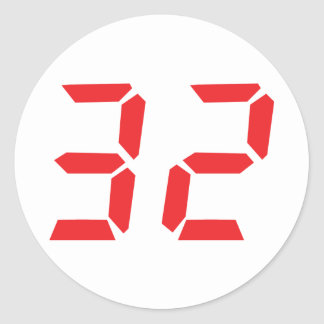 32 thirty-two red alarm clock digital number classic round sticker
