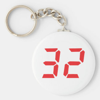 32 thirty-two red alarm clock digital number keychain