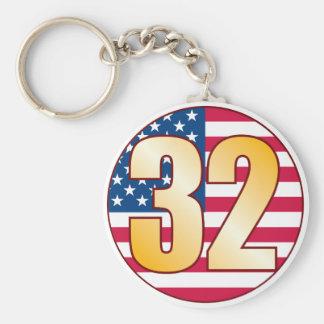 32 USA Gold Basic Round Button Keychain