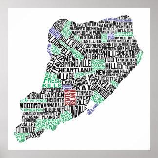 "32 x 32"" Staten Island Calligram Map Poster Print"
