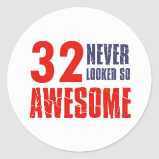 32 year  birthday designs classic round sticker