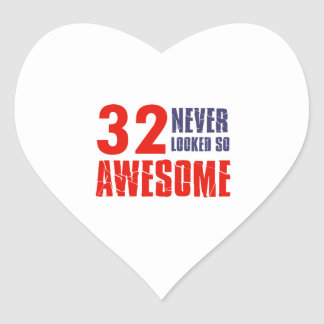 32 year  birthday designs heart sticker