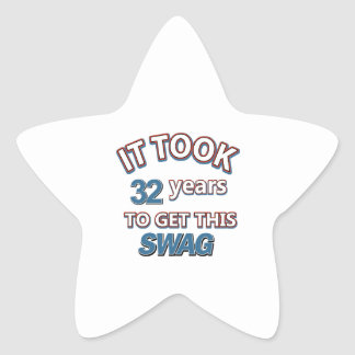 32 year birthday designs star sticker