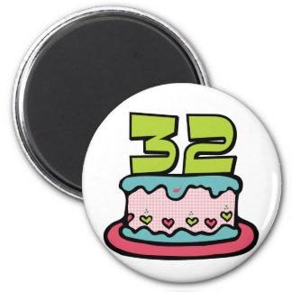 32 Year Old Birthday Cake Magnet