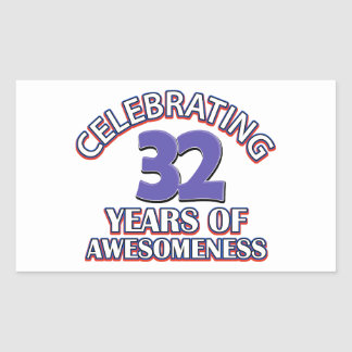 32 year old birthday designs and gifts rectangular sticker