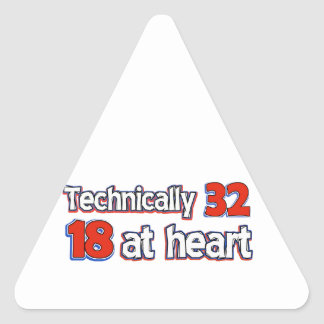 32 years Old birthday designs Triangle Sticker