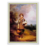 32a  Cottage Girl with Dog Poster