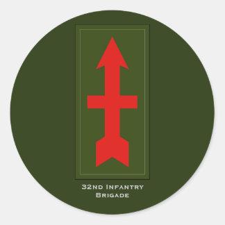 """32da brigada de la infantería "" pegatina redonda"