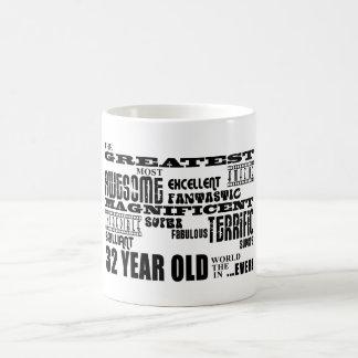 32do Años más grandes de la fiesta de cumpleaños l Taza Básica Blanca