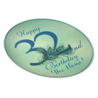 32do cumpleaños feliz - placas personalizadas el 1 plato para fiesta