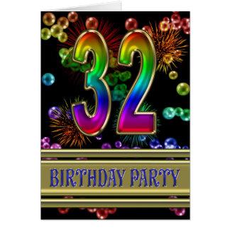 32do Invitación de la fiesta de cumpleaños Felicitacion