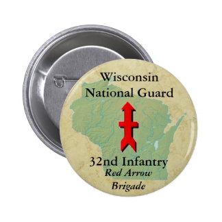 32do La infantería con Wisconsin traza Pin Redondo 5 Cm