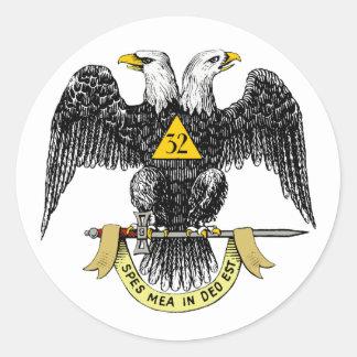 32do Negro escocés Eagle del rito del grado Pegatina Redonda