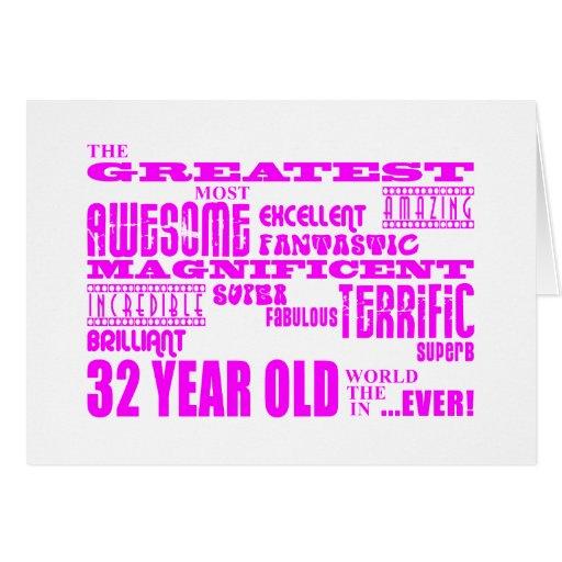 32dos cumpleaños treinta y dos más grande rosado d tarjeta pequeña