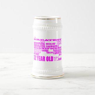 32dos cumpleaños treinta y dos más grande rosado d jarra de cerveza