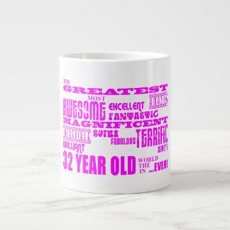 32dos cumpleaños treinta y dos más grande rosado d taza grande