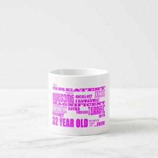32dos cumpleaños treinta y dos más grande rosado d tazitas espresso