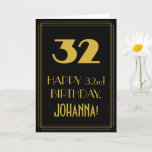 "[ Thumbnail: 32nd Birthday – Art Deco Inspired Look ""32"" & Name Card ]"