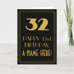 "[ Thumbnail: 32nd Birthday ~ Art Deco Inspired Look ""32"" & Name Card ]"