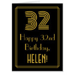 """[ Thumbnail: 32nd Birthday: Art Deco Inspired Look """"32"""" + Name Card ]"""