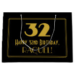 "[ Thumbnail: 32nd Birthday — Art Deco Inspired Look ""32"" & Name Gift Bag ]"