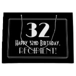 "[ Thumbnail: 32nd Birthday: Art Deco Inspired Style ""32"", Name Gift Bag ]"