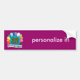 32nd Birthday Balloons Gifts Car Bumper Sticker