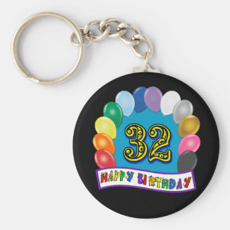 32nd Birthday Balloons Gifts Keychain