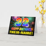 [ Thumbnail: 32nd Birthday: Bold, Fun, Fireworks, Rainbow 32 Card ]