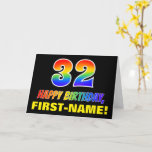 [ Thumbnail: 32nd Birthday: Bold, Fun, Simple, Rainbow 32 Card ]