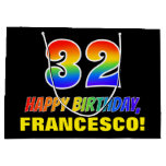 [ Thumbnail: 32nd Birthday: Bold, Fun, Simple, Rainbow 32 Gift Bag ]