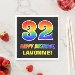 [ Thumbnail: 32nd Birthday: Bold, Fun, Simple, Rainbow 32 Napkins ]