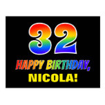 [ Thumbnail: 32nd Birthday: Bold, Fun, Simple, Rainbow 32 Postcard ]