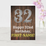 [ Thumbnail: 32nd Birthday: Country Western Inspired Look, Name Card ]