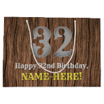 [ Thumbnail: 32nd Birthday: Country Western Inspired Look, Name Gift Bag ]