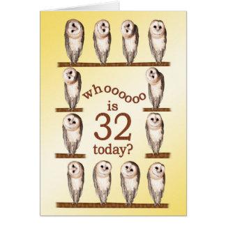 32nd birthday, Curious owls card. Card