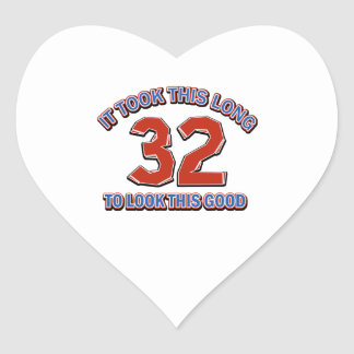 32nd birthday design heart sticker