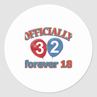 32nd birthday designs classic round sticker