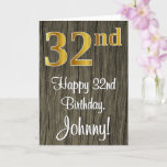 [ Thumbnail: 32nd Birthday: Elegant Faux Gold Look #, Faux Wood Card ]