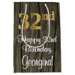 [ Thumbnail: 32nd Birthday: Elegant Faux Gold Look #, Faux Wood Gift Bag ]