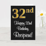 [ Thumbnail: 32nd Birthday ~ Elegant Luxurious Faux Gold Look # Card ]