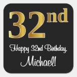 [ Thumbnail: 32nd Birthday – Elegant Luxurious Faux Gold Look # Sticker ]