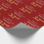 [ Thumbnail: 32nd Birthday: Elegant, Red, Faux Gold Look Wrapping Paper ]
