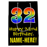 "[ Thumbnail: 32nd Birthday: Fun, Bold, Colorful, Rainbow ""32"" Gift Bag ]"