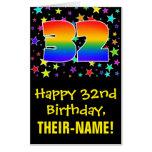 [ Thumbnail: 32nd Birthday: Fun, Colorful Stars + Rainbow # 32 Card ]