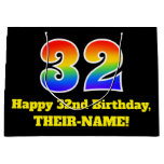 [ Thumbnail: 32nd Birthday ~ Fun, Colorful, Vibrant, Rainbow 32 Gift Bag ]