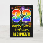 [ Thumbnail: 32nd Birthday: Fun Fireworks Pattern + Rainbow 32 Card ]